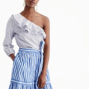 NWT J. Crew Striped One Shoulder Ruffle Top